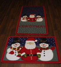 Christmas Novelty Santa MatS + Doormat 57cm x 110cm sets of 2 Snowflake Red